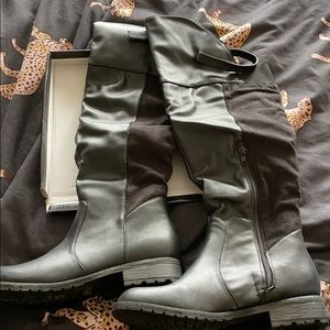 Knee high faux leather and suede boots sz 8 NIB